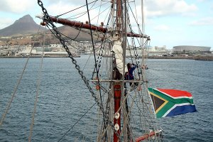 An excellent view from the mast when arriving in Cape Town.