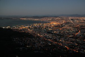 Evening lights of Cape Town, as seen from Lion's Head.