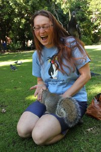 Playing with squirrels and pigeons in Company's Garden.