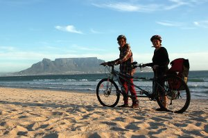 Posing with the tandem on the beach at Table's View.