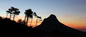The silhouette of Lion's Head at sunset time.