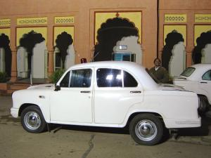 My car and driver in Kota, in front of Circuit House.