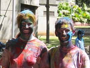Me and Helena after playing Holi.