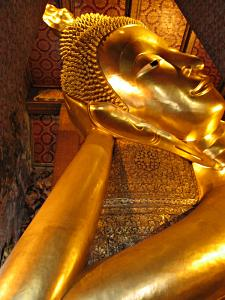 The world's largest reclining Buddha in the Wat Pho temple, Bangkok.