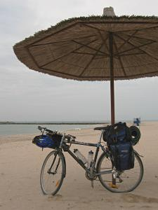My bicycle under a sunshade at a