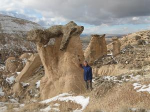 Stone mushrooms near Zelve, Cappadocia, Turkey.