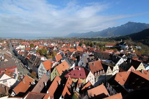 View over the roofs of the town Füssen.