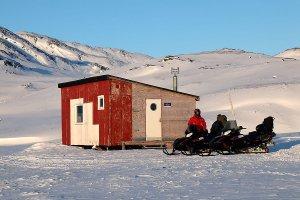 Break at a small wilderness hut.