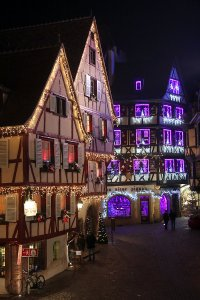 A few half-timbered houses in Christmas dress, Colmar.