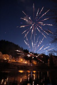 Fireworks in Füssen on the New Years day, 2017.