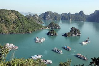 A classic view of the Halong Bay, Vietnam