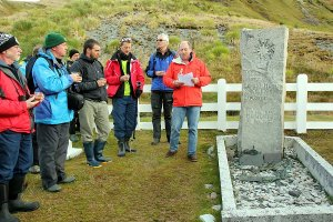 Raising a toast on Sir Ernest Shackleton's grave.