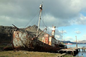 "The old whaler ""Petrel"" at Grytviken, South Georgia."