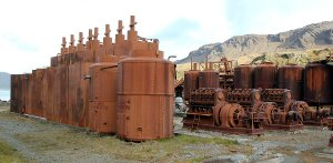 Whaling station machinery in open air.