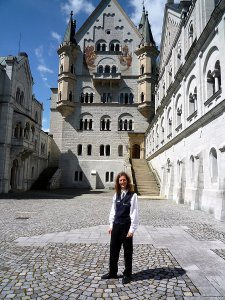 Me on the castle courtyard. Photo by Vladi Kurucova.