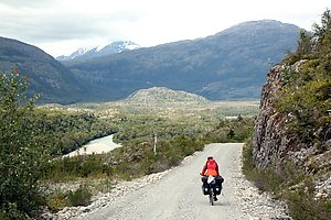 Sandra cycling on the Carretera Austral towards Villa O'Higgins.