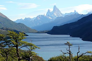 Lake Desierto with the famous peak of Fitz Roy in the background.