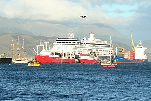 Ships in the port in Ushuaia. Bark Europa on the left looks tiny compared to the big cargo ships and cruiseliners.