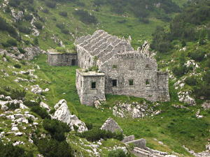 Ruins of a stone building between the Krn lake and the Bogatinsko saddle, Triglav national park.