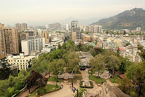 Santiago de Chile, view from Santa Lucia hill.