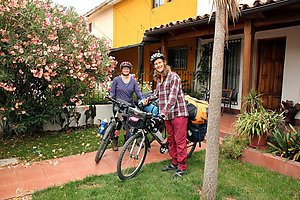 In Santiago at Elba's family's garden, ready to go.
