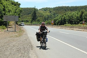 Sandra cycling on the Pan-American Highway.