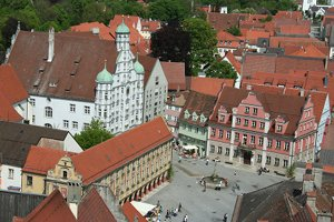The center of Memmingen photographed from the St. Martin church tower.