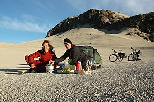 Cooking in front of the tent near the Antonio Samore pass.
