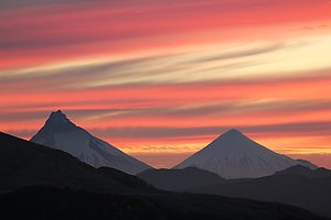 Volcanoes Puntiagudo and Osorno during the sunset.