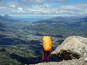 Arto on the ridge, looking down from the high plateau near Cerro Castillo. Photo by Sandra Teräs.