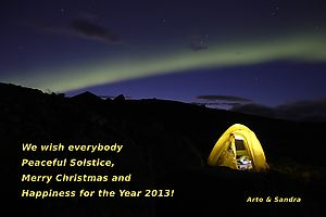 Our season's greetings card: Northern lights in Sarek.